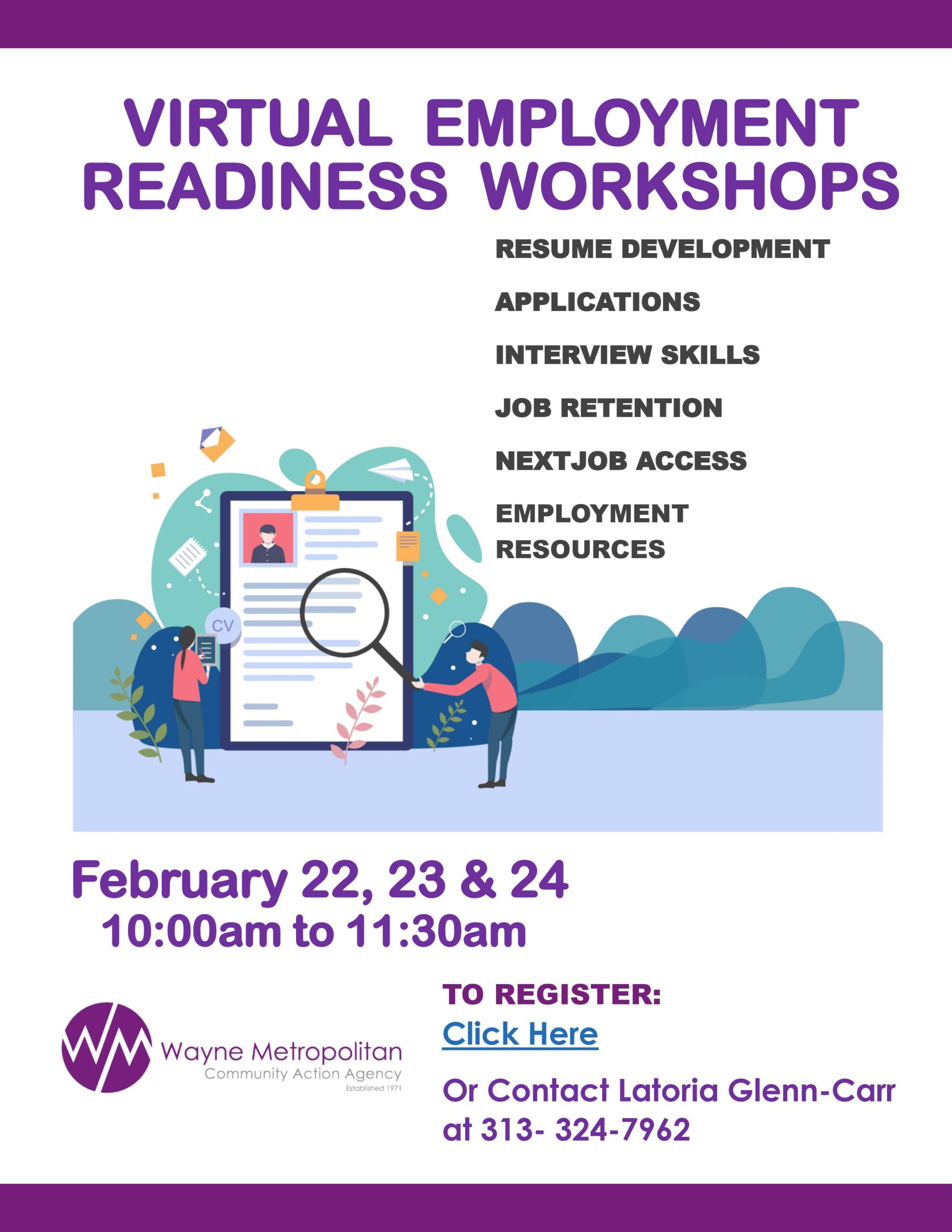 Virtual Employment Workshops Flyer